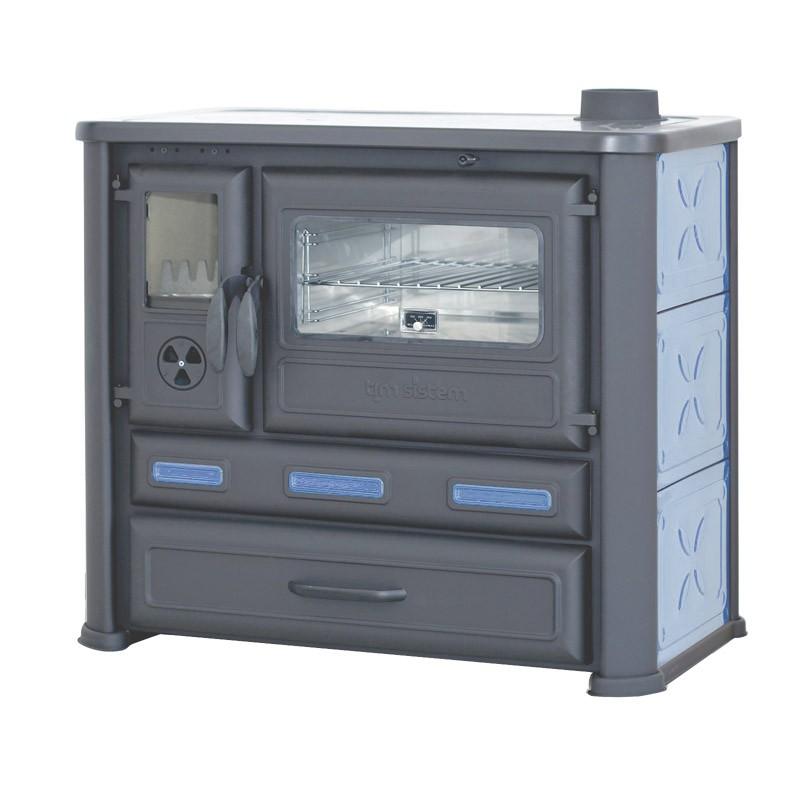 cuisini re avec plaque chauffante po le bois 8 kw bleu. Black Bedroom Furniture Sets. Home Design Ideas